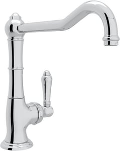 Rohl Perrin & Rowe® Country Kitchen 1-Hole Kitchen Faucet with Single Metal Lever Handle and Extended Spout RA365011LM2