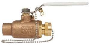 Apollo Conbraco Bronze 600# Solder Standard Port Ball Valve with Hose Cap A70LF204HC