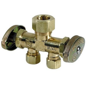 Brass Craft 1/2 in. Nom Compression x OD Compression Dual Shut-Off Multi-Turn Angle Valve BCR1903DVX