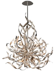 Corbett Lighting Graffiti 50 W 6-Light Pendant in Silver Leaf C15446