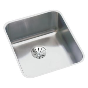 Elkay No-Hole 1-Bowl Undermount Bar Sink with Perfect Drain in Lustrous Highlighted Satin EELUHAD131645PD