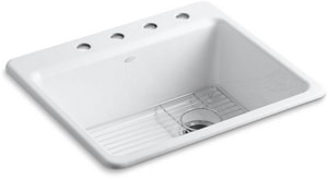Kohler Riverby® 4-Hole 1-Bowl Kitchen Sink with Bottom Basin Rack K5872-4A1