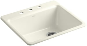 Kohler Riverby® 3-Hole 1-Bowl Topmount Kitchen Sink with Basin Rack K5872-3A1