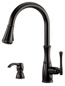 Pfister Wheaton™ 1-Hole High Arc Kitchen Faucet with Single Lever Handle and Soap Dispenser PF5297WH