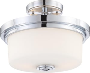 Nuvo Lighting Soho 60W 2-Light Medium E-26 Incandescent Semi-Flush Ceiling Light with Satin White N604593