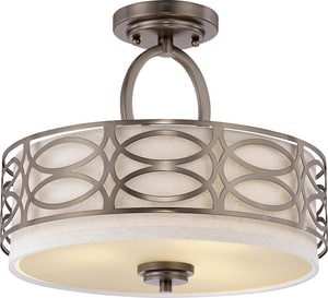 Nuvo Lighting Harlow 60W 3-Light Medium E-26 Incandescent Semi-Flush Ceiling Light with Frosted Glass N604729