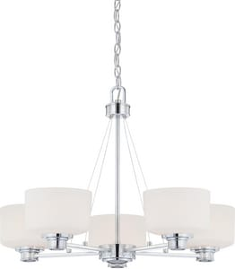 Nuvo Lighting Soho 60W 5-Light Medium E-26 Incandescent Chandelier with White Satin Glass in Polished Chrome N604585