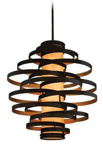 Corbett Lighting Vertigo 60 W 6-Light Medium Pendant in Bronze and Gold Leaf C11376