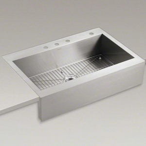 Kohler Vault™ 35-3/4 x 24-5/16 x 9-5/16 in. Top Mount Single-Bowl Kitchen Sink With Shortened Apron-Front For 36 in. Cabinet K3942