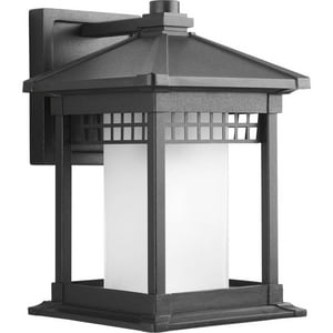 Progress Lighting Merit 12-1/4 in. 100W 1-Light Wall Lantern in Black PP600131