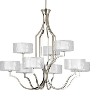 Progress Lighting Caress 36-5/8 in. 60W 9-Light Chandelier PP4646104WB
