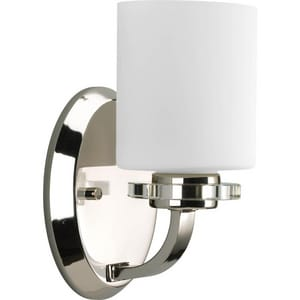Progress Lighting Nisse 100 W 9 in. 1-Light Medium Bracket Sconce in Polished Nickel PP2012104