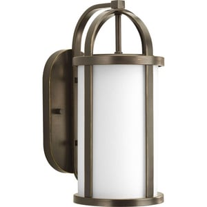 Progress Lighting Greetings 16-3/4 in. 100W 1-Light Outdoor Wall Lantern in Antique Bronze PP571920