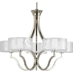 Progress Lighting Caress 60W 5-Light Candelabra E-12 Halogen Chandelier in Polished Nickel PP4645104WB