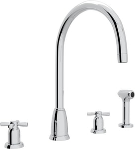 Rohl Perrin & Rowe® 4-Hole Double Cross Handle Column Spout Kitchen Faucet with Sidespray RU4890X2