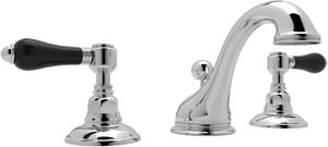 Rohl Viaggio 3-Hole Deckmount Widespread Lavatory Faucet with Double Porcelain Lever Handle and 3-5/16 in. Spout Height RA1408LPBK2
