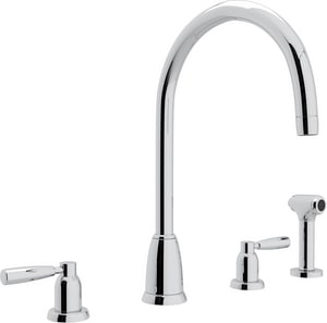 Rohl Perrin & Rowe® 4-Hole Double Lever Handle Column Spout Kitchen Faucet with Sidespray RU4891LS2