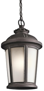 Kichler Lighting Ralston 100W 1-Light Medium E-26 Incandescent Outdoor Pendant in Rubbed Bronze KK49412RZ