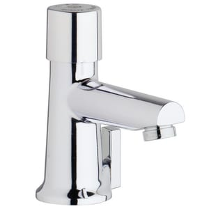 Chicago Faucet 0.5 gpm 1-Hole Hot and Cold Water Metering Mixing Sink Faucet with Single-Handle C3502E2805AB