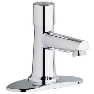 Chicago Faucet Metering Sink Faucet with Single Knob Handle in Polished Chrome C35004E2805ABCP