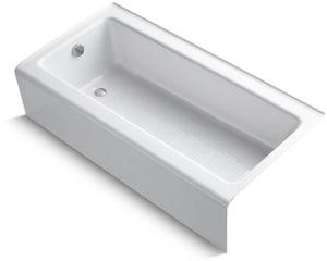 Kohler Bellwether® 60 x 30-1/4 in. Cast Iron 3-Wall Alcove Rectangular Bathtub with Left Drain K837