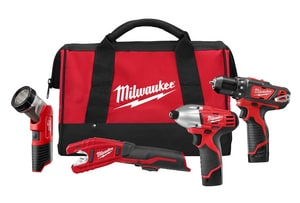 Milwaukee M12™ 4-Piece Battery Drill Impact Copper Cutter Light Kit M249924