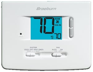 Braeburn Systems Builder 2H/1C Heat Cool Non Programmable Thermostat in White BRA1220NC