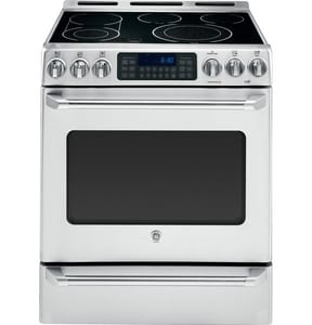 General Electric Appliances 5.4 CF 30 in. Free Standing Smoothtop Range Convection in Stainless Steel GCS980STSS