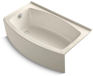 Kohler Expanse® 60 x 36 in. Acrylic 3-Wall Alcove Curved Bathtub with Left Drain K1118-LA