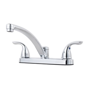 Pfister 3-Hole Kitchen Faucet with Double Lever Handle and Metal Supply Nuts in Polished Chrome PG1357000