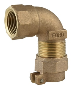 Ford Meter Box FIPT x Pack Joint Brass Straight Compression 90 Degree Bend for Copper or Plastic Tubing (CTS) FL14NL