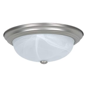 Sunset Lighting and Fans 15 in. 3-Light Ceiling Flushmount with Faux Alabaster Glass Shade SF7634