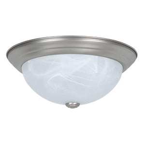 Sunset Lighting and Fans 13 in. 2-Light Ceiling Flushmount with Faux Alabaster Glass Shade SF7632