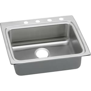 Elkay Gourmet™ Lustertone® 1-Bowl Stainless Steel Topmount Kitchen Sink with Rear Center Drain ELRAD252260
