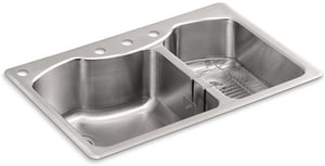 Kohler Octave™ 33 x 22 in. Top Mount Large/Medium Double-Bowl Kitchen Sink 4 Hole K3844-4-NA