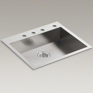 Kohler Vault™ 25 x 22 x 6-5/16 in. Single Bowl Dual-Mount Kitchen Sink 4 Hole K3894-4-NA