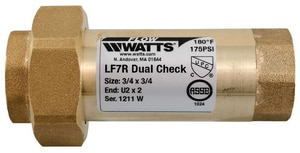 Watts Series LF7R 3/4 in. EPDM Copper Silicon Alloy FNPT 175 psi Backflow Preventer WLF7RU22F at Pollardwater