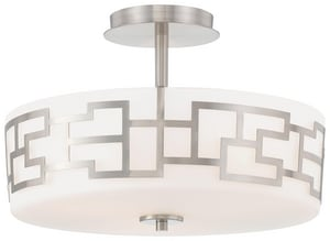 George Kovacs Alecia's Necklace™ 100W 3-Light Semi-Flushmount Ceiling Fixture in Brushed Nickel KP198084