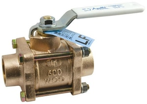 Apollo Conbraco 82LF-200 Series 600 psi 3-Piece Bronze Solder Full Port Isolation Ball Valve with Lever Handle A82LF2001