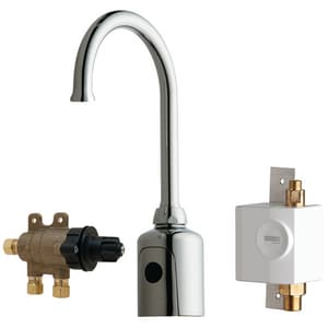 Chicago Faucet 1 gpm 1-Hole Gooseneck Sink Faucet with Dual Beam Infrared Sensor and 7-3/4 in. Spout Height in Polished Chrome C116975AB1