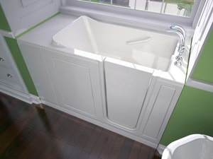 Safety Tubs 38 x 48 x 28 in. 45 gal Gelcoat Freestanding Walk-In Bathtub Soaker with Extension Kit and Left Hand Minute Drain SSSV4828LS