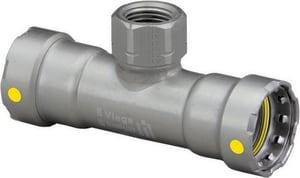 Viega North America MegaPressG Press x Female Carbon Steel Tee with HNBR Sealing Element V2544