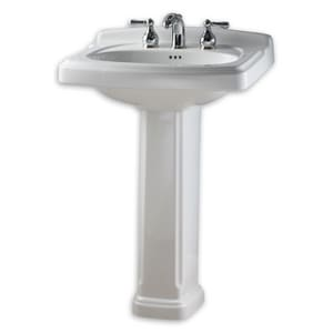 American Standard Portsmouth® Pedestal Rectangular Bathroom Sink and Rear Drain A0555101