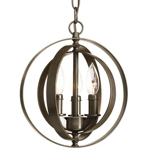 Progress Lighting Equinox 60W 3-Light Candelabra Pendant Light PP5142