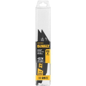 DEWALT 6 in. 18 TPI Metal Cutting Reciprocating Saw Blade DDWA4186B25