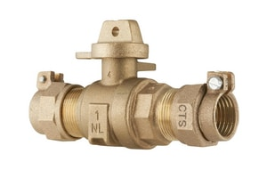 Ford Meter Box 1 in. CTS x CTS Pack Joint Water Service Brass Ball Valve Curb Stop FB44444WNL