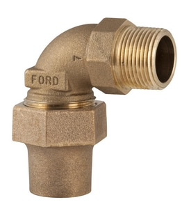 Ford Meter Box Flared x MIPT Brass 90 Degree Elbow Bend FL28NL