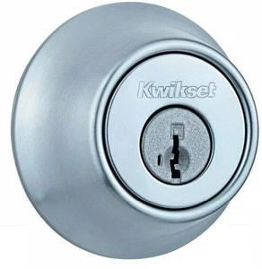 Kwikset 2-7/16 x 1-1/16 in. Single Cylinder Deadbolt in Satin Chrome with SmartKey Security K66026DSMTRCALRCS