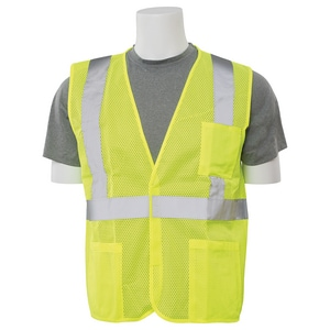 ERB Safety Resuable Economy Mesh Safety Vest with Pockets and Hoop & Loop Design E61630