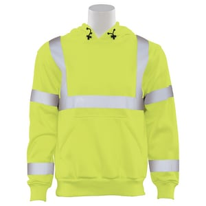 ERB Safety XL Size High-Visibility Hoodie in Lime E61542